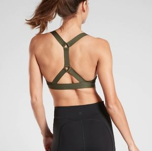 Athleta olive green Ascent sports bra